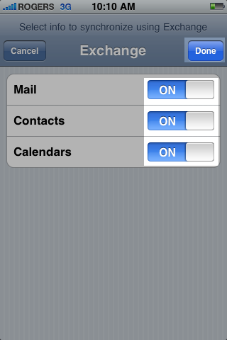 iphone mail setup with hosted exchange